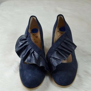 KMB Anthropologie Crossed Ruffle Blue Pumps